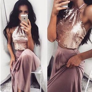 Dresses & Skirts - Pink Sequin Two Piece Prom Dress
